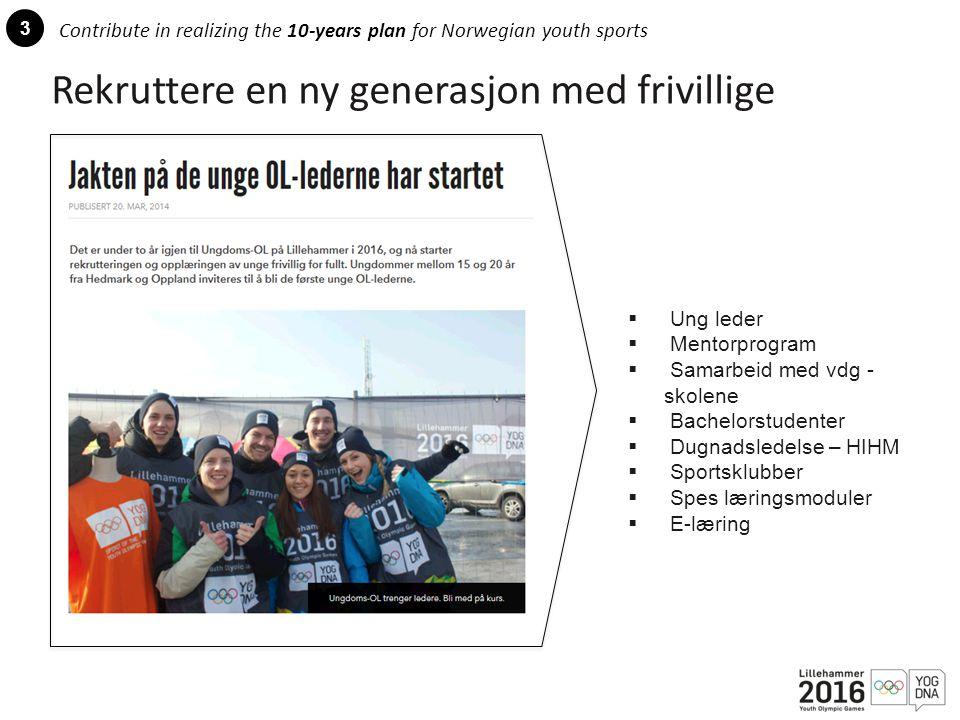 3 Contribute in realizing the 10-years plan for Norwegian youth sports Rekruttere en ny generasjon med frivillige  Ung leder  Mentorprogram  Samarbeid med vdg - skolene  Bachelorstudenter  Dugnadsledelse – HIHM  Sportsklubber  Spes læringsmoduler  E-læring