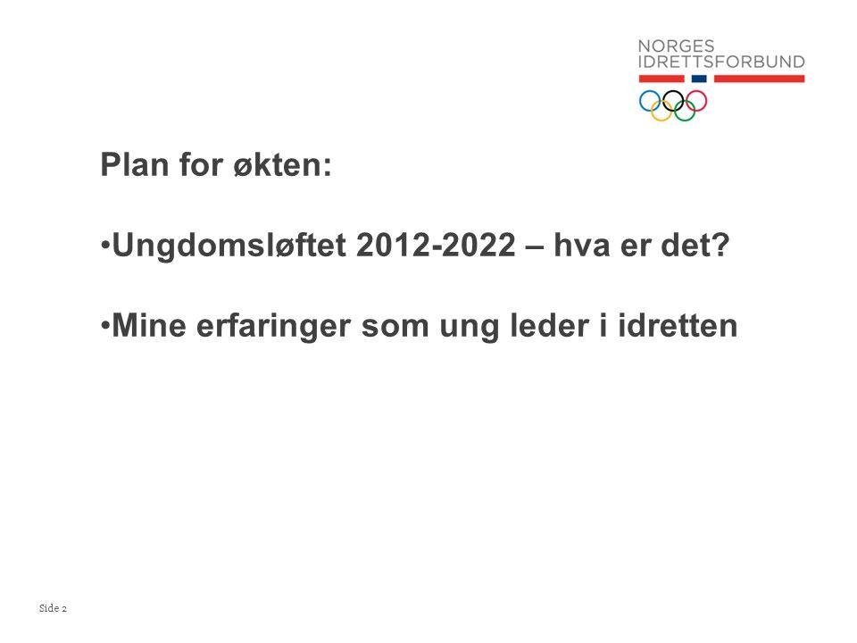 Side 2 Plan for økten: •Ungdomsløftet 2012-2022 – hva er det? •Mine erfaringer som ung leder i idretten