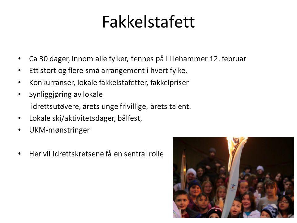 Fakkelstafett • Ca 30 dager, innom alle fylker, tennes på Lillehammer 12. februar • Ett stort og flere små arrangement i hvert fylke. • Konkurranser,