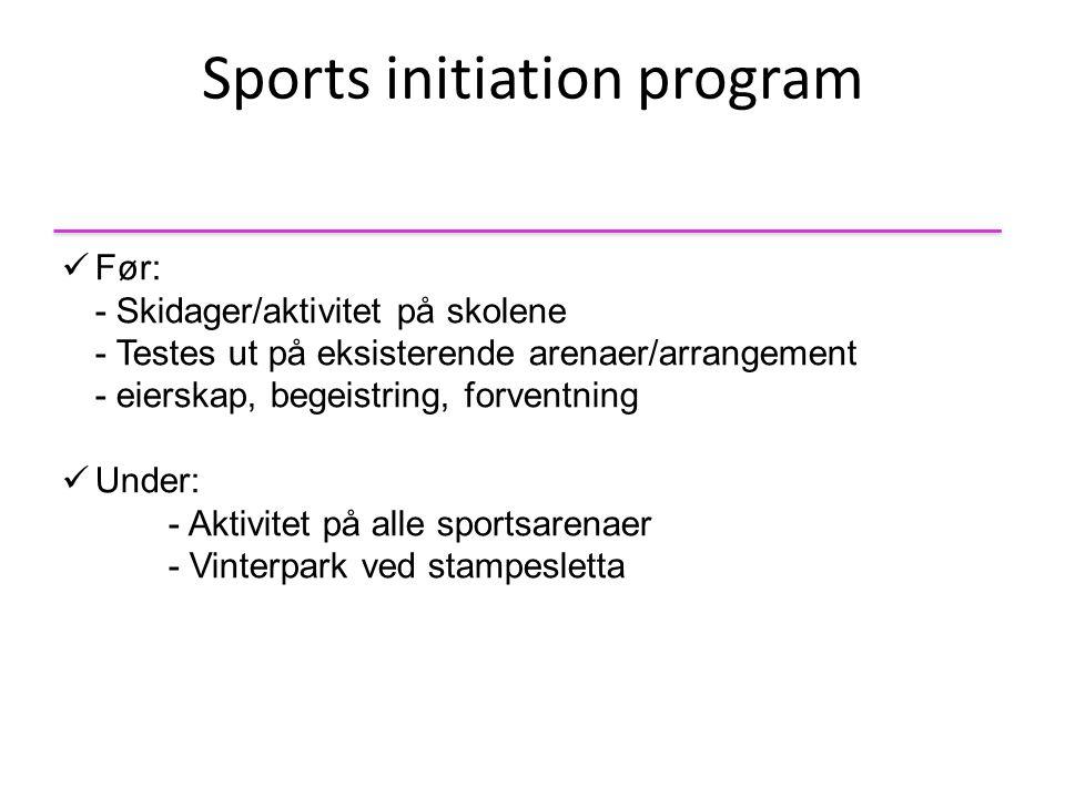 Sports initiation program  Før: - Skidager/aktivitet på skolene - Testes ut på eksisterende arenaer/arrangement - eierskap, begeistring, forventning  Under: - Aktivitet på alle sportsarenaer - Vinterpark ved stampesletta