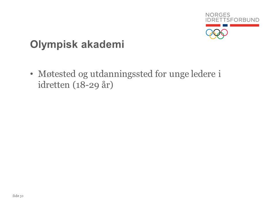 Side 30 • Møtested og utdanningssted for unge ledere i idretten (18-29 år) Olympisk akademi