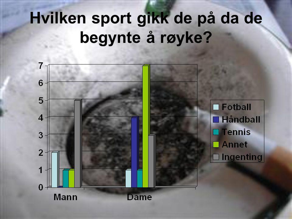 Hvilken sport gikk de på da de begynte å røyke?