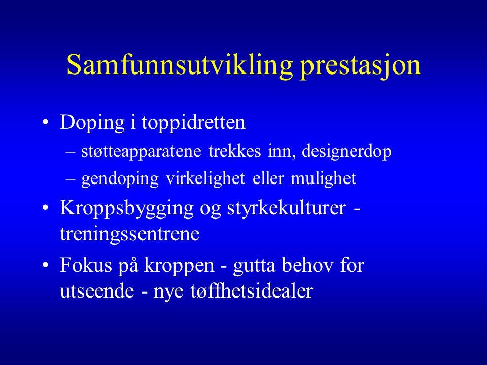 Samfunnsutvikling prestasjon •Doping i toppidretten –støtteapparatene trekkes inn, designerdop –gendoping virkelighet eller mulighet •Kroppsbygging og