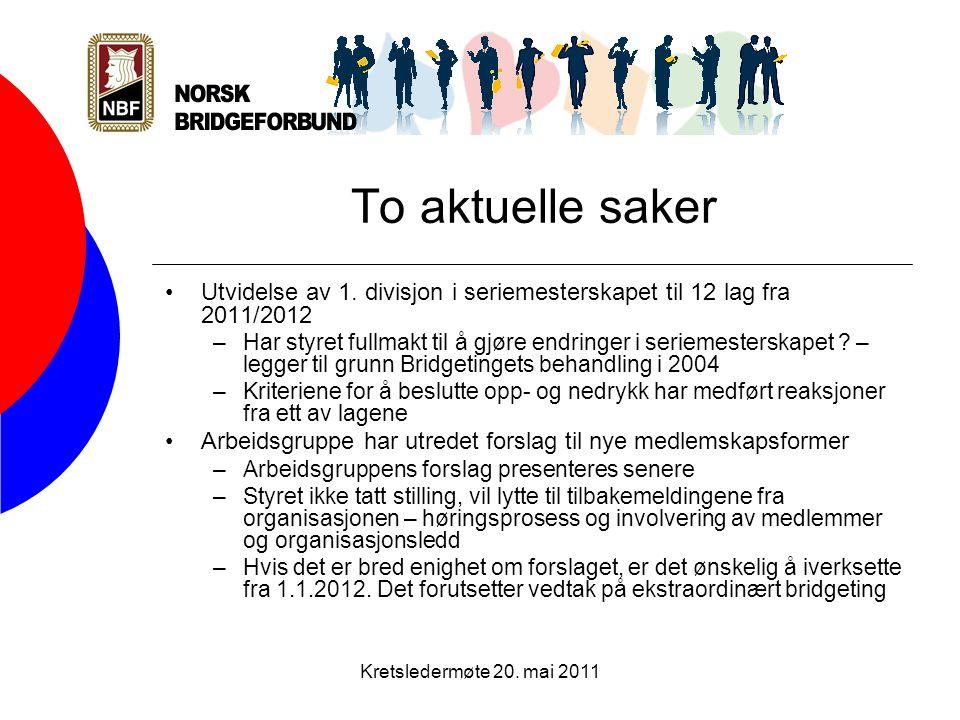 Kretsledermøte 20. mai 2011 To aktuelle saker •Utvidelse av 1.