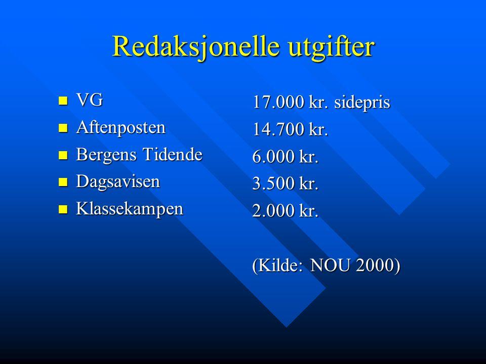 Redaksjonelle utgifter  VG  Aftenposten  Bergens Tidende  Dagsavisen  Klassekampen 17.000 kr. sidepris 14.700 kr. 6.000 kr. 3.500 kr. 2.000 kr. (
