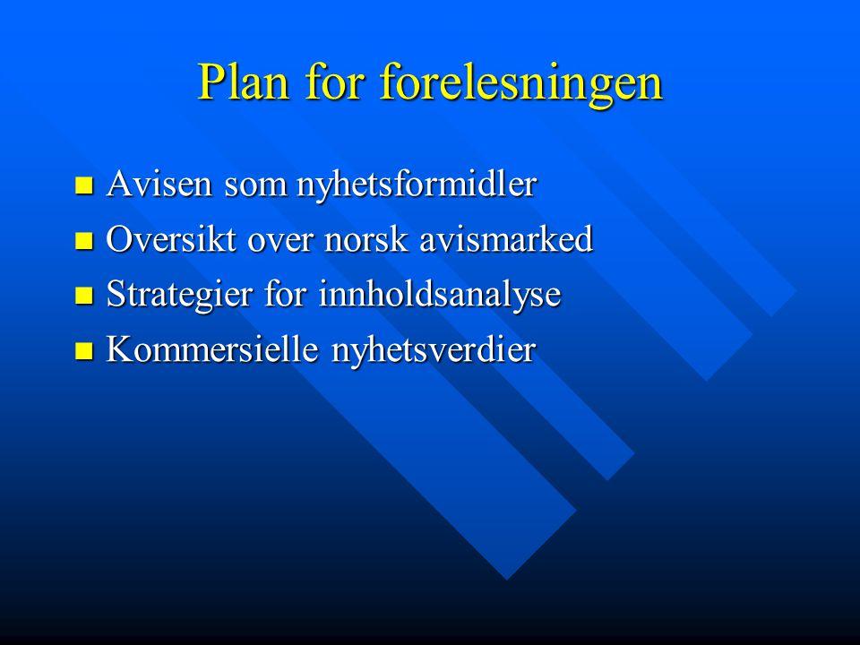 Plan for forelesningen  Avisen som nyhetsformidler  Oversikt over norsk avismarked  Strategier for innholdsanalyse  Kommersielle nyhetsverdier
