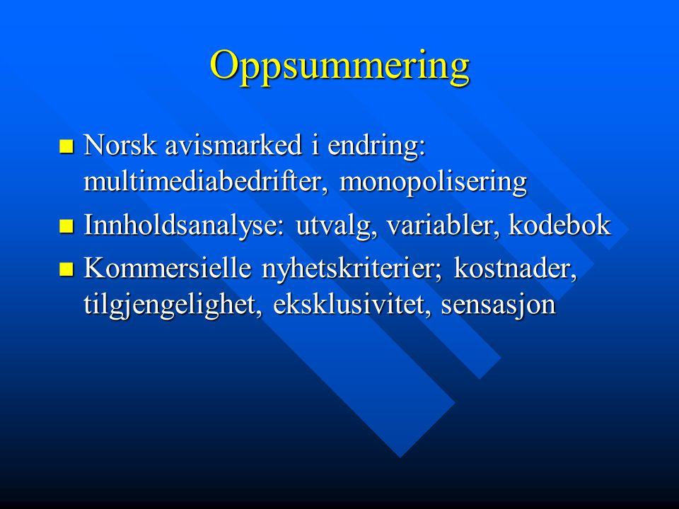 Oppsummering  Norsk avismarked i endring: multimediabedrifter, monopolisering  Innholdsanalyse: utvalg, variabler, kodebok  Kommersielle nyhetskrit