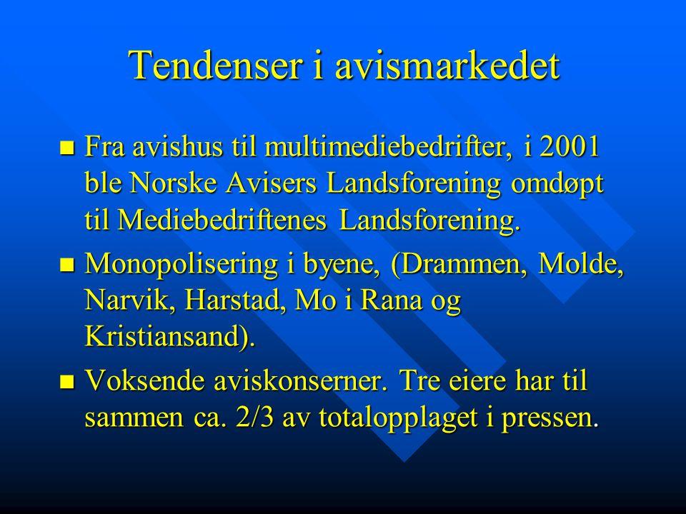 Tendenser i avismarkedet  Fra avishus til multimediebedrifter, i 2001 ble Norske Avisers Landsforening omdøpt til Mediebedriftenes Landsforening.  M