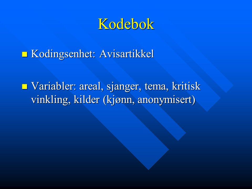 Kodebok  Kodingsenhet: Avisartikkel  Variabler: areal, sjanger, tema, kritisk vinkling, kilder (kjønn, anonymisert)