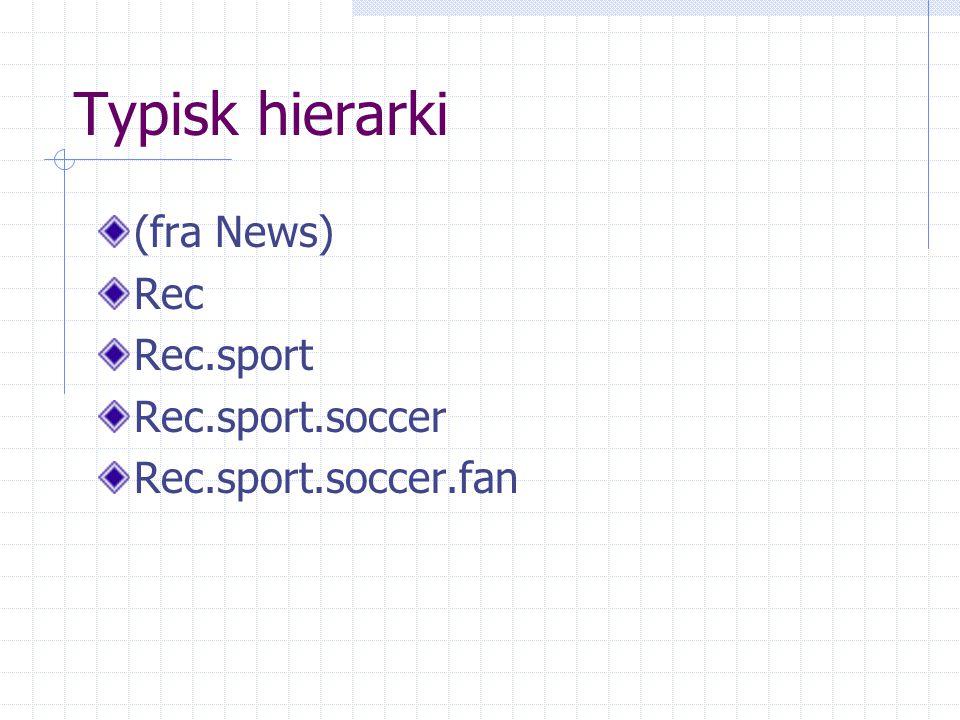 Typisk hierarki (fra News) Rec Rec.sport Rec.sport.soccer Rec.sport.soccer.fan
