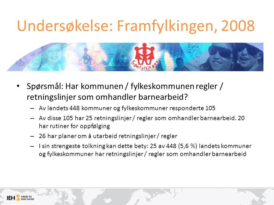 Undersøkelse: Framfylkingen, 2008 • Spørsmål: Har kommunen / fylkeskommunen regler / retningslinjer som omhandler barnearbeid? – Av landets 448 kommun