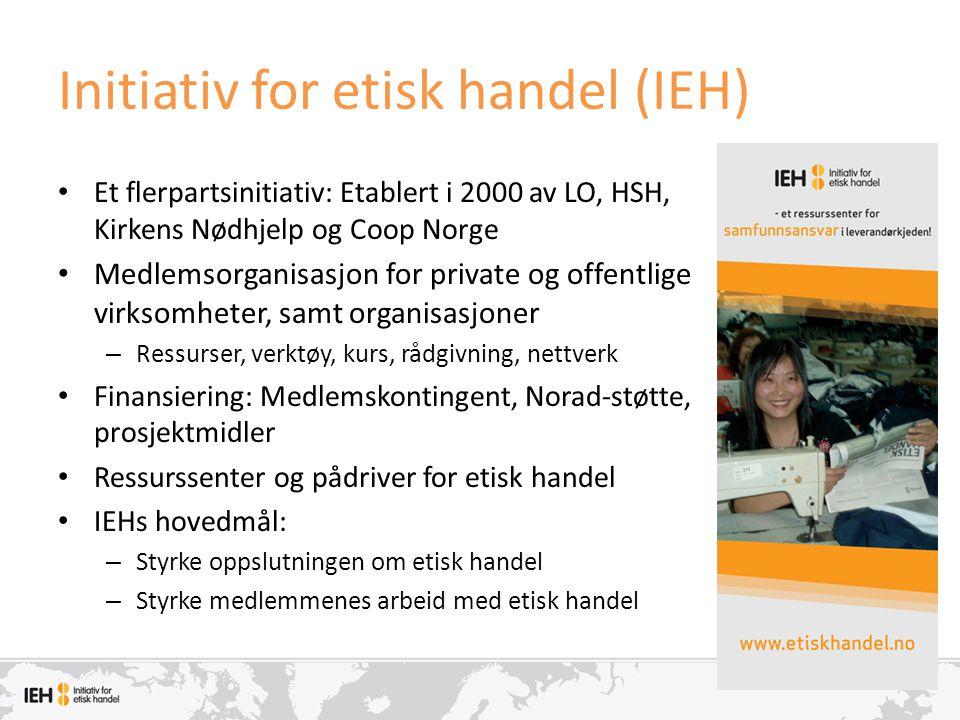 Initiativ for etisk handel (IEH) • Et flerpartsinitiativ: Etablert i 2000 av LO, HSH, Kirkens Nødhjelp og Coop Norge • Medlemsorganisasjon for private