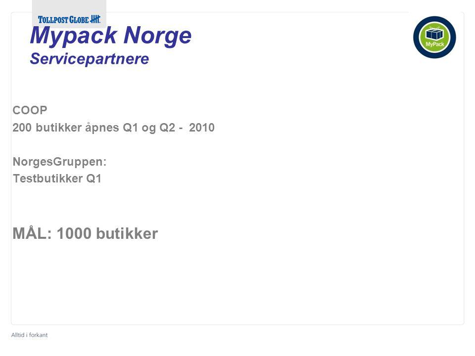 COOP 200 butikker åpnes Q1 og Q2 - 2010 NorgesGruppen: Testbutikker Q1 MÅL: 1000 butikker Mypack Norge Servicepartnere