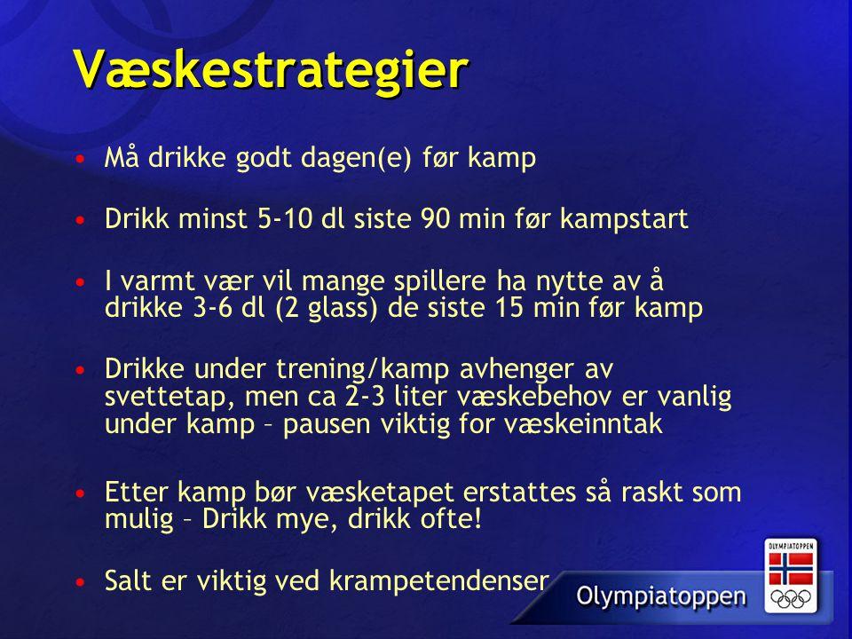 Væskestrategier •Må drikke godt dagen(e) før kamp •Drikk minst 5-10 dl siste 90 min før kampstart •I varmt vær vil mange spillere ha nytte av å drikke