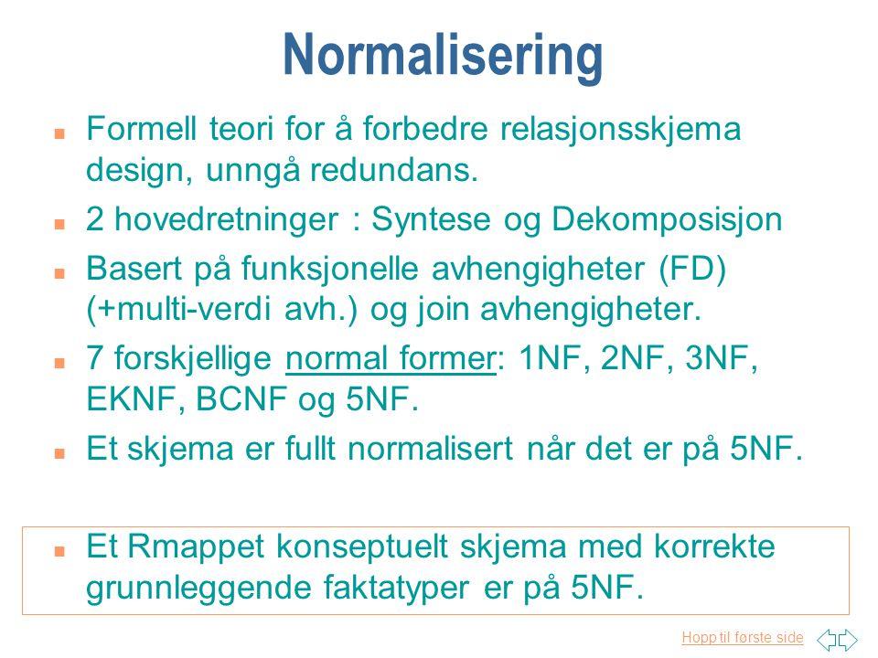 Hopp til første side Normalisering n Formell teori for å forbedre relasjonsskjema design, unngå redundans. n 2 hovedretninger : Syntese og Dekomposisj
