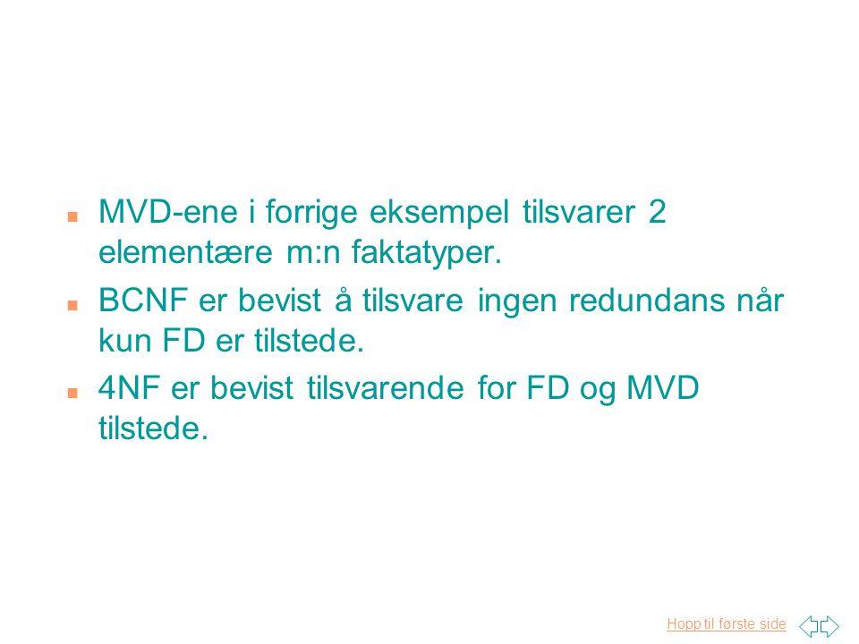 Hopp til første side n MVD-ene i forrige eksempel tilsvarer 2 elementære m:n faktatyper. n BCNF er bevist å tilsvare ingen redundans når kun FD er til