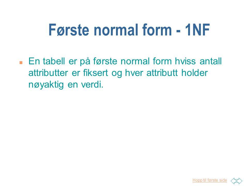 Hopp til første side Første normal form - 1NF n En tabell er på første normal form hviss antall attributter er fiksert og hver attributt holder nøyakt