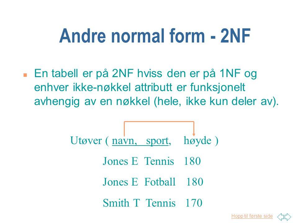 Hopp til første side Andre normal form - 2NF n En tabell er på 2NF hviss den er på 1NF og enhver ikke-nøkkel attributt er funksjonelt avhengig av en n