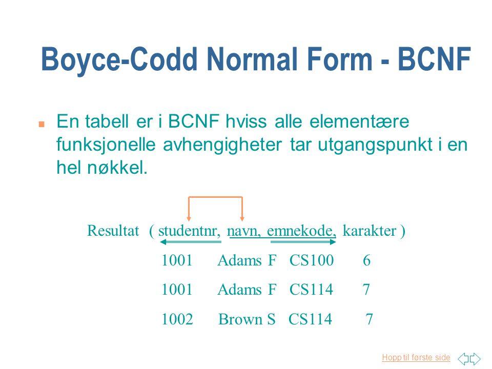 Hopp til første side Boyce-Codd Normal Form - BCNF n En tabell er i BCNF hviss alle elementære funksjonelle avhengigheter tar utgangspunkt i en hel nø