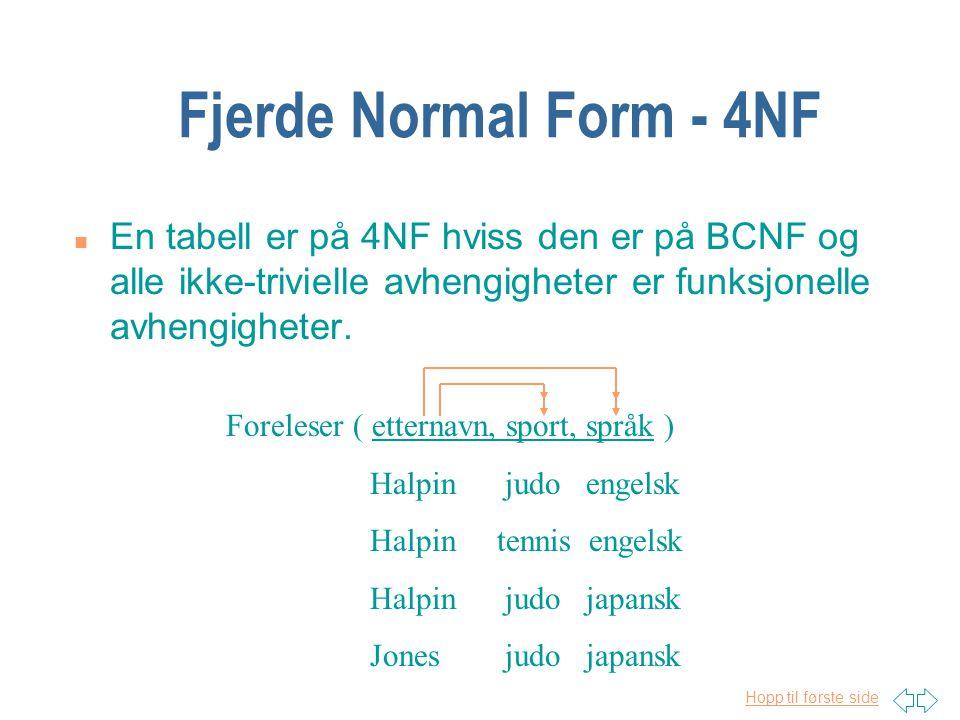 Hopp til første side Fjerde Normal Form - 4NF n En tabell er på 4NF hviss den er på BCNF og alle ikke-trivielle avhengigheter er funksjonelle avhengig