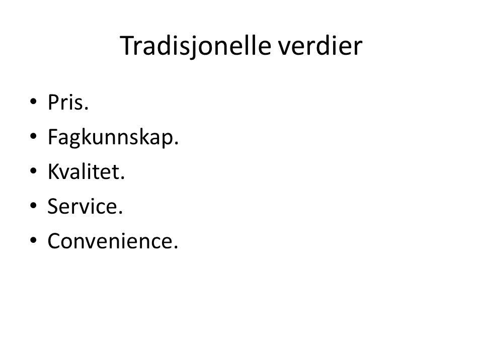 Tradisjonelle verdier • Pris. • Fagkunnskap. • Kvalitet. • Service. • Convenience.
