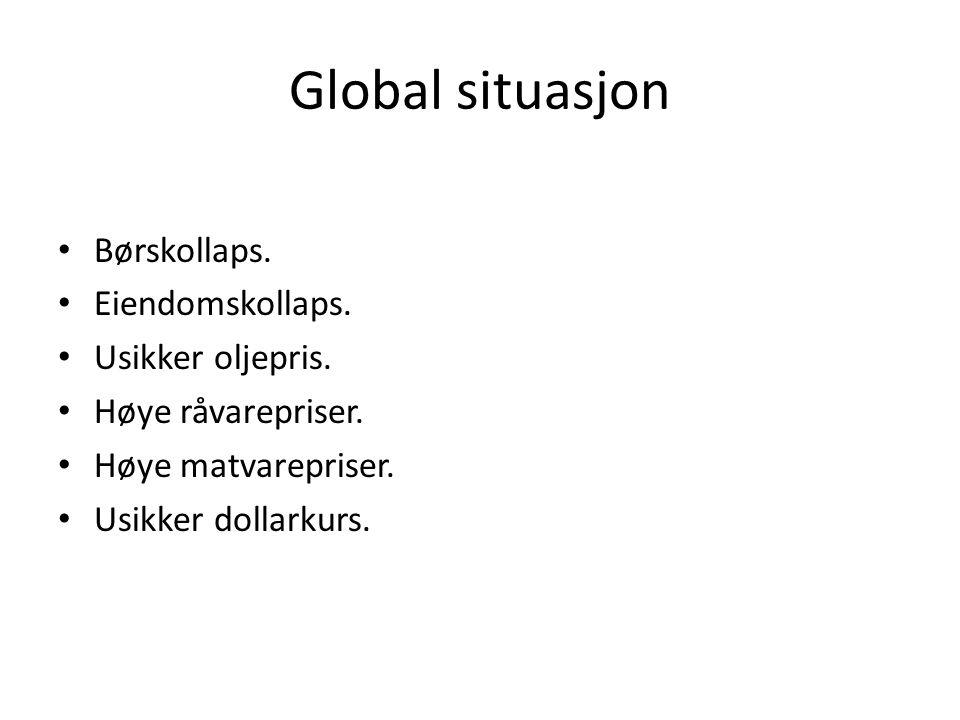 Global situasjon • Børskollaps. • Eiendomskollaps.