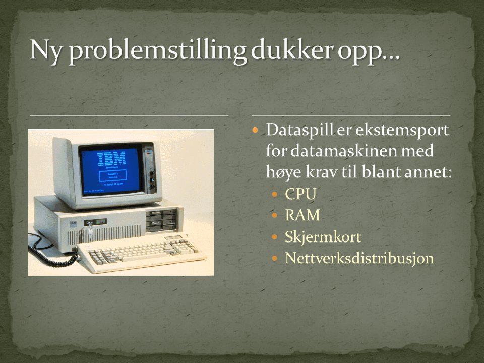  Dataspill er ekstemsport for datamaskinen med høye krav til blant annet:  CPU  RAM  Skjermkort  Nettverksdistribusjon