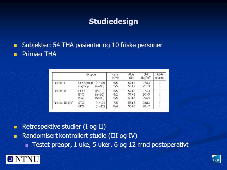 Studiedesign   Subjekter: 54 THA pasienter og 10 friske personer   Primær THA   Retrospektive studier (I og II)   Randomisert kontrollert stud