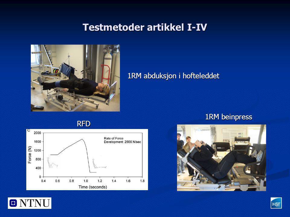 Testmetoder artikkel I-IV RFD 1RM beinpress 1RM abduksjon i hofteleddet