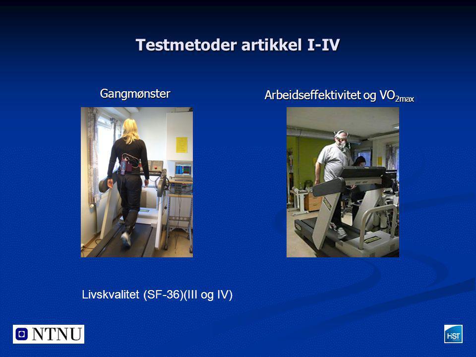 Testmetoder artikkel I-IV Gangmønster Arbeidseffektivitet og VO 2max Livskvalitet (SF-36)(III og IV)