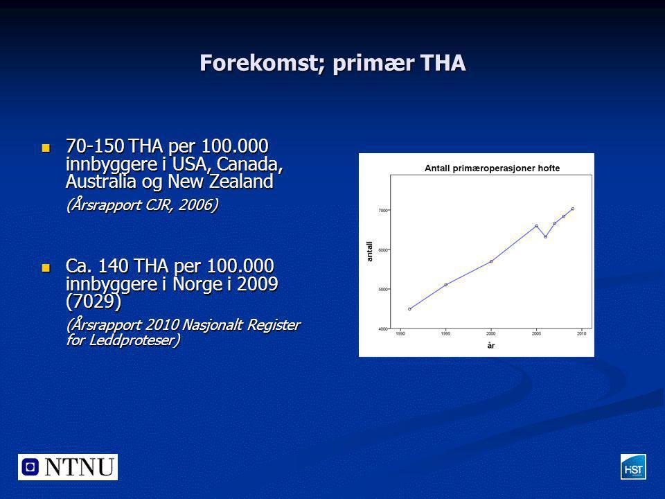Forekomst; primær THA  70-150 THA per 100.000 innbyggere i USA, Canada, Australia og New Zealand (Årsrapport CJR, 2006)  Ca. 140 THA per 100.000 inn