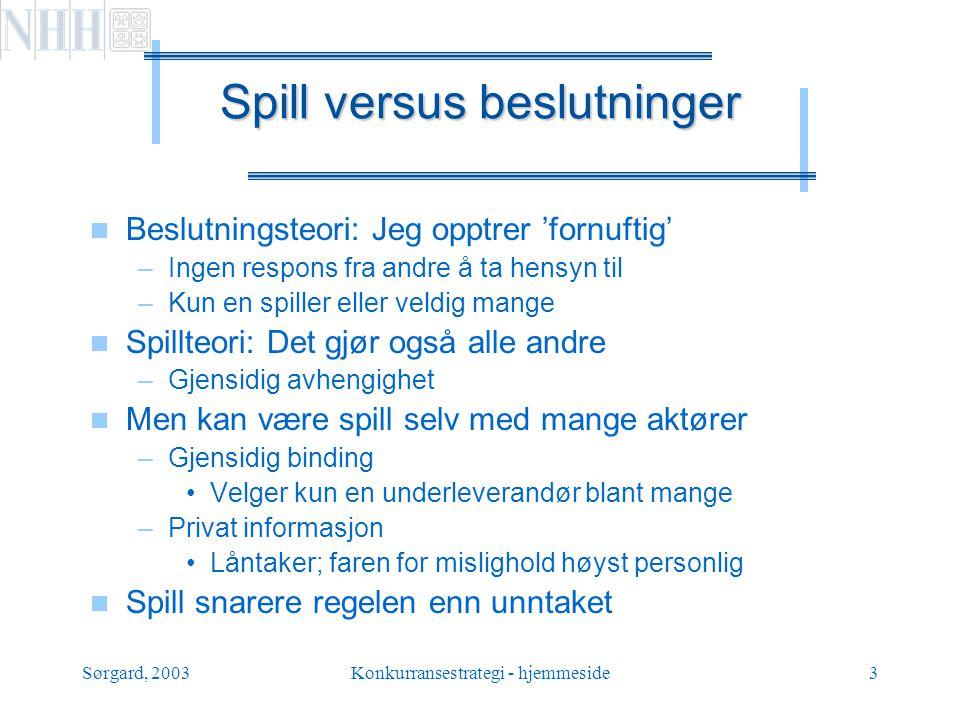 Sørgard, 2003Konkurransestrategi - hjemmeside4 Sekvensielle versus simultane spill  Sekvensielt: sjakk, etablering, …  Simultant: lukkede auksjoner, forside avis,..