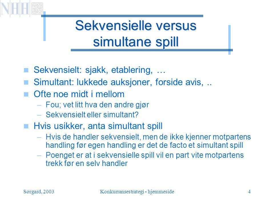 Sørgard, 2003Konkurransestrategi - hjemmeside5 Sekvensielle versus simultane spill fortsettelse  Tenkemåten veldig forskjellig  Sekvensielle spill –Hva blir responsen.