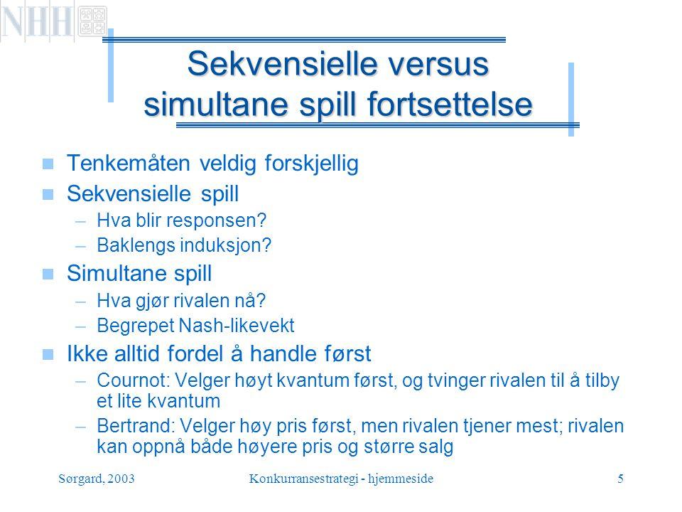 Sørgard, 2003Konkurransestrategi - hjemmeside16 Spillets regler  Liste opp spillerne  Trekkrekkefølge  Strategiene for hver spiller  Payoff for hver spiller i hvert utfall  Rasjonelle spillere, gitt deres egne preferanser