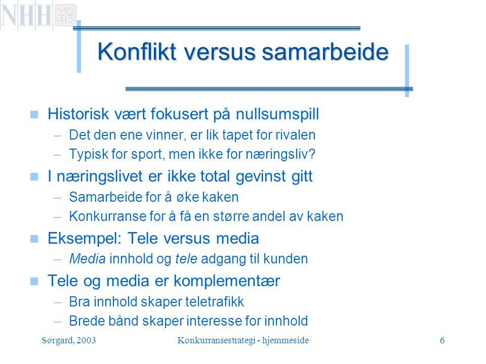 Sørgard, 2003Konkurransestrategi - hjemmeside17 Hva blir så løsningen.
