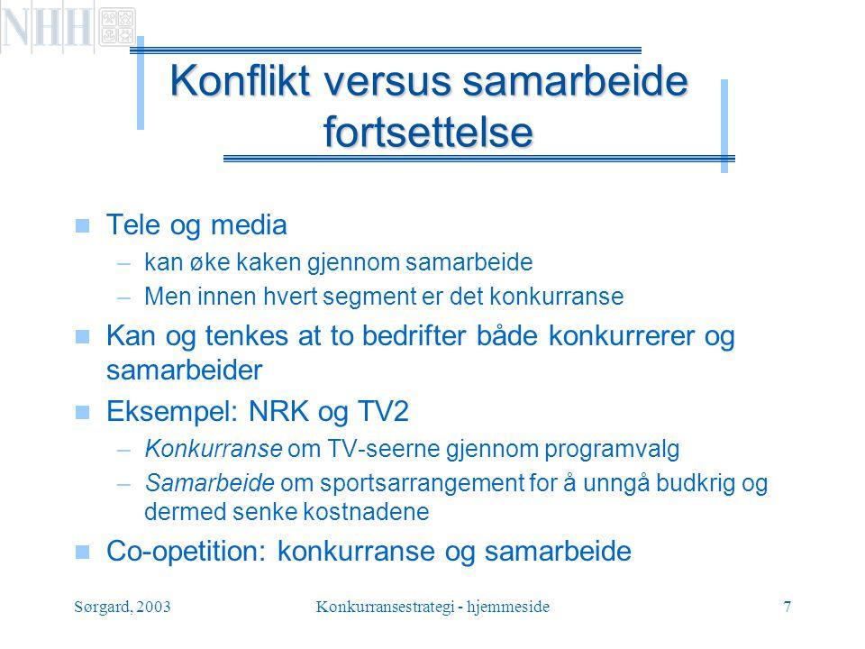 Sørgard, 2003Konkurransestrategi - hjemmeside8 Engangs- versus gjentatt spill  Engangsspill –Selger noe til en turist –Ingen neste periode –Leder det til skruppel-løs adferd, eller …..
