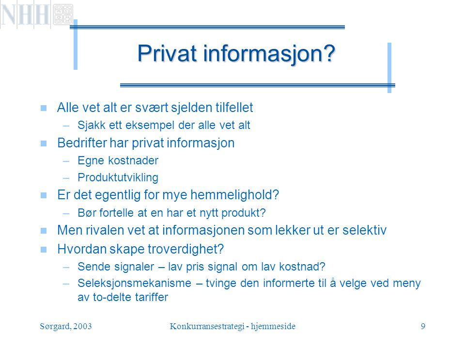 Sørgard, 2003Konkurransestrategi - hjemmeside10 Faste regler i spillet.