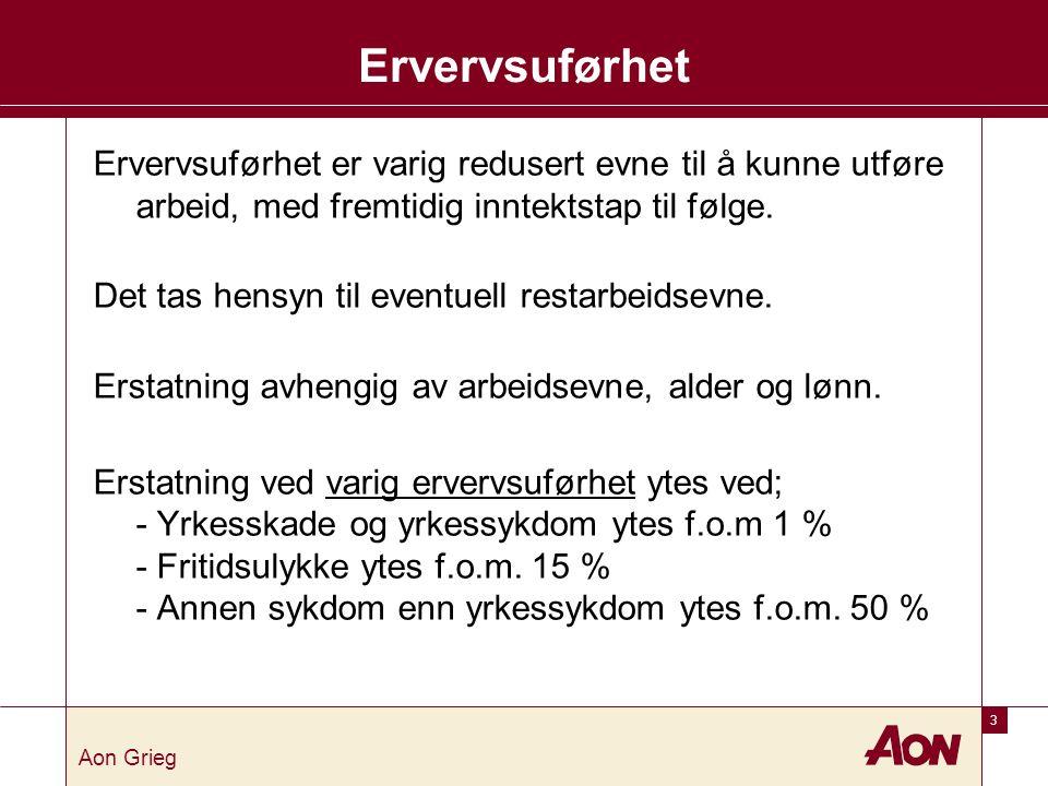 3 Aon Grieg Ervervsuførhet Ervervsuførhet er varig redusert evne til å kunne utføre arbeid, med fremtidig inntektstap til følge.
