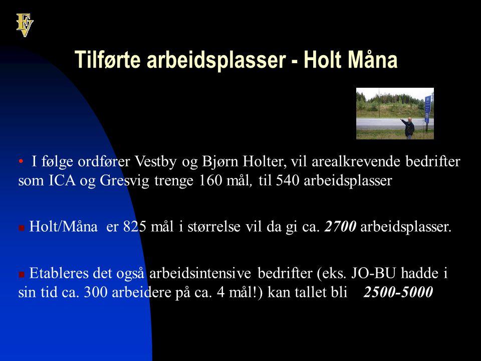 Tilførte arbeidsplasser - Holt Måna • I følge ordfører Vestby og Bjørn Holter, vil arealkrevende bedrifter som ICA og Gresvig trenge 160 mål, til 540 arbeidsplasser  Holt/Måna er 825 mål i størrelse vil da gi ca.