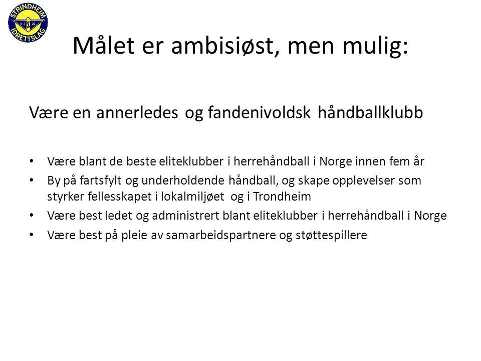 Målet er ambisiøst, men mulig: Være en annerledes og fandenivoldsk håndballklubb • Være blant de beste eliteklubber i herrehåndball i Norge innen fem