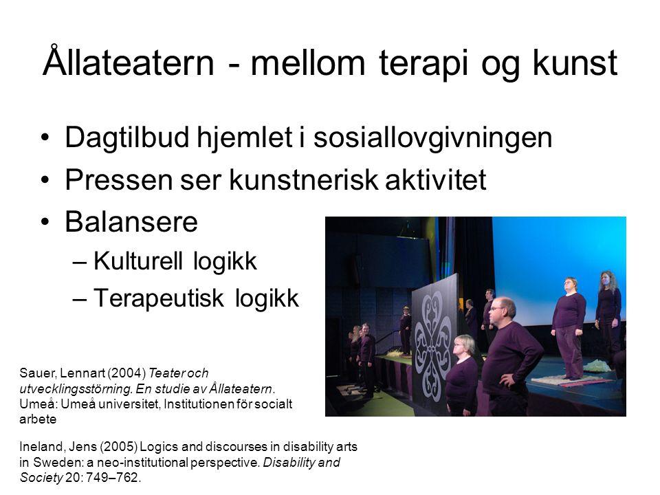 Ållateatern - mellom terapi og kunst •Dagtilbud hjemlet i sosiallovgivningen •Pressen ser kunstnerisk aktivitet •Balansere –Kulturell logikk –Terapeut