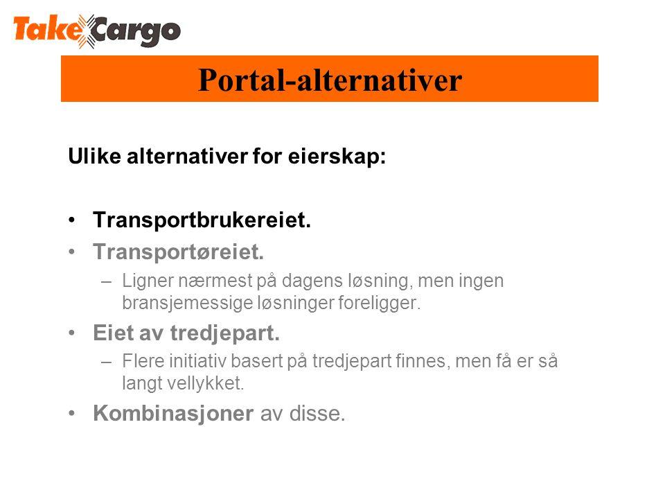 Portal-alternativer Ulike alternativer for eierskap: •Transportbrukereiet.