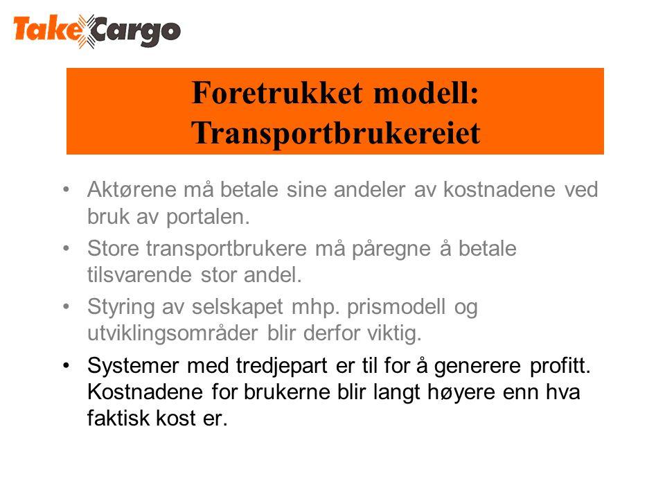 Foretrukket modell: Transportbrukereiet •Aktørene må betale sine andeler av kostnadene ved bruk av portalen.