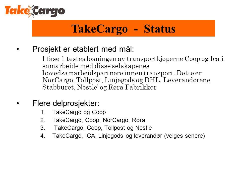•Prosjekt er etablert med mål: I fase 1 testes løsningen av transportkjøperne Coop og Ica i samarbeide med disse selskapenes hovedsamarbeidspartnere innen transport.