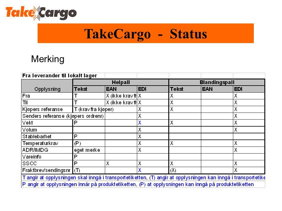 Merking TakeCargo - Status