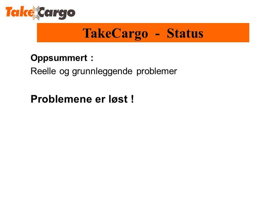 Oppsummert : Reelle og grunnleggende problemer Problemene er løst ! TakeCargo - Status