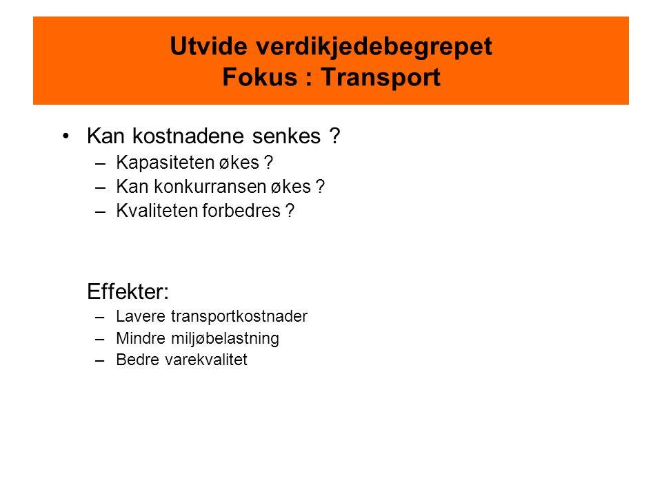 Utvide verdikjedebegrepet Fokus : Transport •Kan kostnadene senkes .