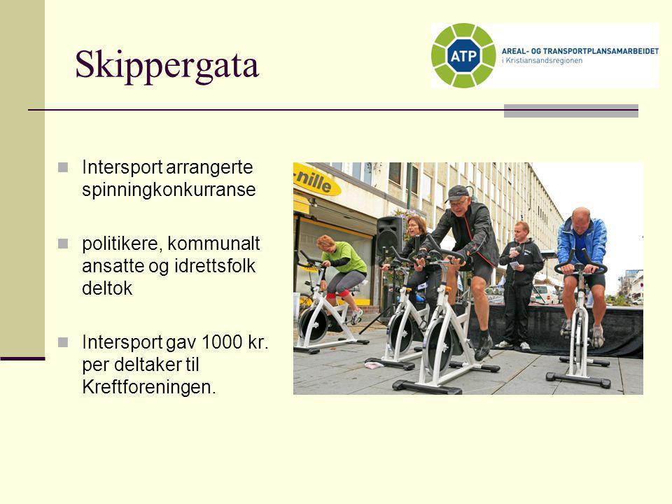 Skippergata  Intersport arrangerte spinningkonkurranse  politikere, kommunalt ansatte og idrettsfolk deltok  Intersport gav 1000 kr. per deltaker t