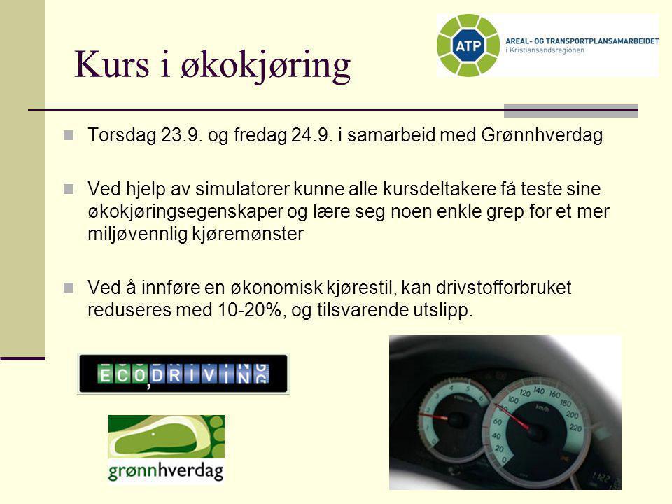 Kurs i økokjøring  Torsdag 23.9. og fredag 24.9. i samarbeid med Grønnhverdag  Ved hjelp av simulatorer kunne alle kursdeltakere få teste sine økokj