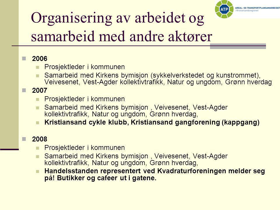 Organisering av arbeidet og samarbeid med andre aktører  2006  Prosjektleder i kommunen  Samarbeid med Kirkens bymisjon (sykkelverkstedet og kunstr